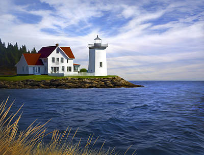New England Lighthouse Painting - Hendricks Light by James Charles