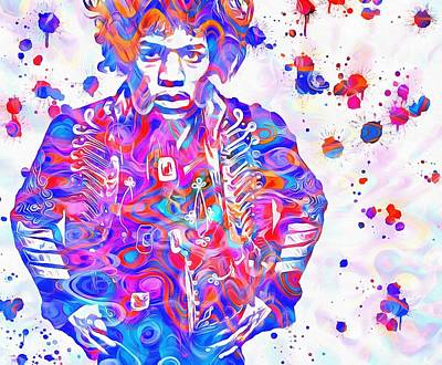 Hendrix Paint Splatter Print by Dan Sproul