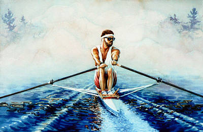 Scull Painting - Henley On The Horizon by Hanne Lore Koehler