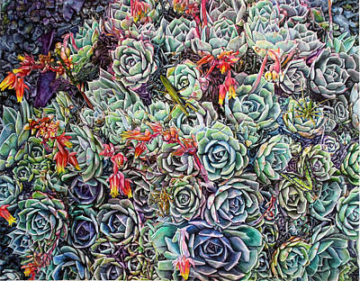 Hens And Chicks Painting - Hens And Chicks by Noel Cole