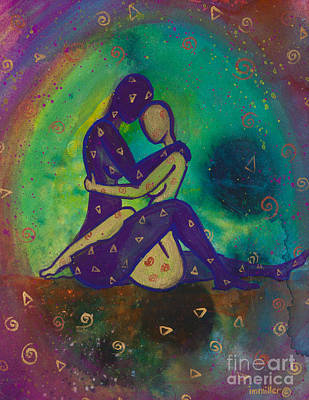 Ink Painting - Her Loves Embrace Divine Love Series No. 1006 by Ilisa  Millermoon