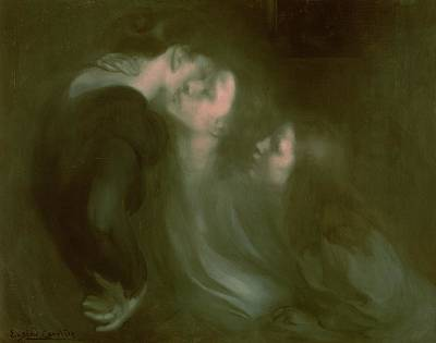 Women Together Painting - Her Mother's Kiss by Eugene Carriere