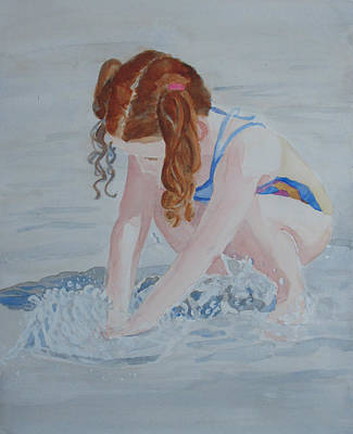 Water Play Painting - Her Own Little Fountain by Jenny Armitage