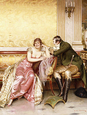 Flirtation Painting - Her Suitor by Joseph Frederic Charles Soulacroix