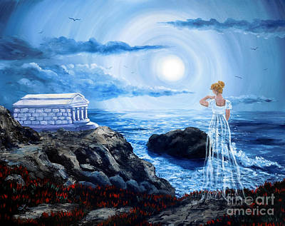 Paranormal Painting - Her Tomb By The Sounding Sea by Laura Iverson