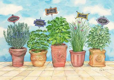 Chives Painting - Herb Garden by Paul Brent