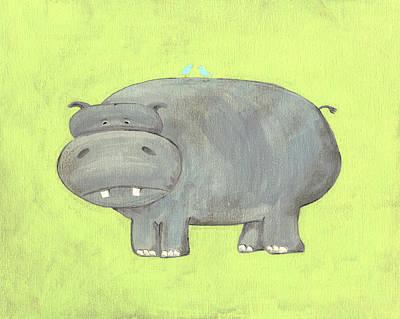 Hippopotamus Painting - Herbert Hippo Nursery Art by Katie Carlsruh