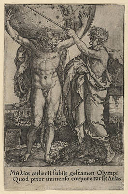 Heinrich Aldegrever Drawing - Hercules And Atlas by Heinrich Aldegrever