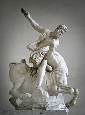 Hercules And Centaur Sculpture Print by Artecco Fine Art Photography