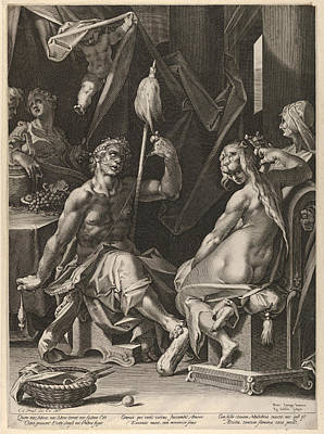 Drawing - Hercules And Omphale by Aegidius Sadeler