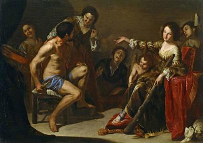 Painting - Hercules And Omphale by Bernardo Cavallino