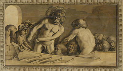 Jacob Van Campen Painting - Hercules Gets Cerberus From The Underworld, Charon The Ferryman Of The Styx by Jacob van Campen
