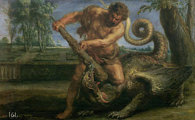 Dragon Painting - Hercules Slaying The Dragon In The Garden Of The Hesperides by Peter Paul Rubens