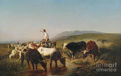 Shepherd Boy Painting - Herd With Eselreitendem Shepherd Boy by Celestial Images