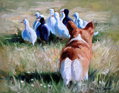 Duck Painting - Herding Ducks by Mary Sparrow