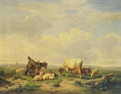 Livestock Painting - Herdsman And Herd by Eugene Joseph Verboeckhoven