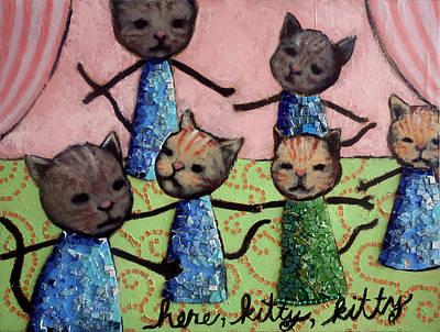 Mosaic Mixed Media - Here, Kitty, Kitty by Pauline Lim