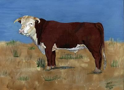 Steer Painting - Hereford by Sara Stevenson
