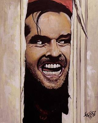 Jack Nicholson Painting - Here's Johnny by Tom Carlton