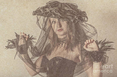Heritage Fashion Girl Posing In Vintage Hat Print by Jorgo Photography - Wall Art Gallery