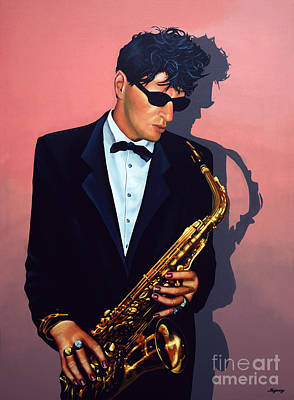 Saxophone Painting - Herman Brood by Paul Meijering