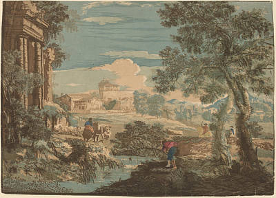 Heroic Landscape With Fisherman - Cows - And Horsemen Print by John Baptist Jackson After Marco Ricci