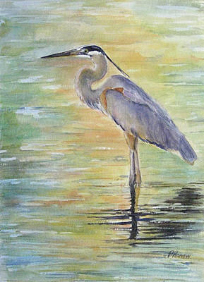 Heron Painting - Heron At The Lagoon by Patricia Pushaw
