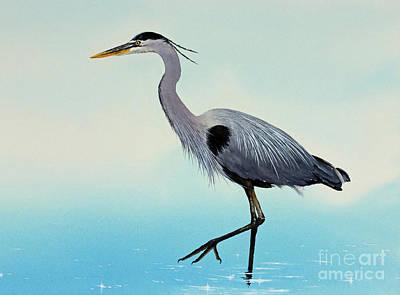 Heron In Blue Water Print by James Williamson