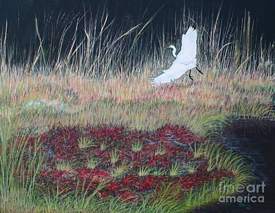 Heron Over Autumn Marsh Print by Cindy Lee Longhini