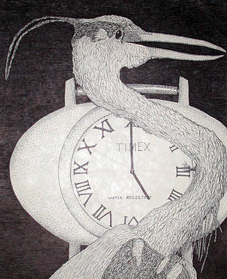 Birds Drawing - Heron Time by Shane Bechler