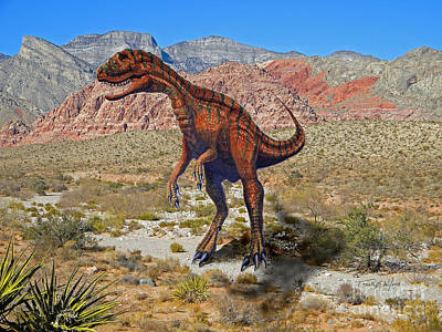 Dinosaur Mixed Media - Herrarsaurus In Desert by Frank Wilson