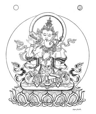 Blessings Drawing - Heruka-vajrasattva -buddha Of Purification by Carmen Mensink