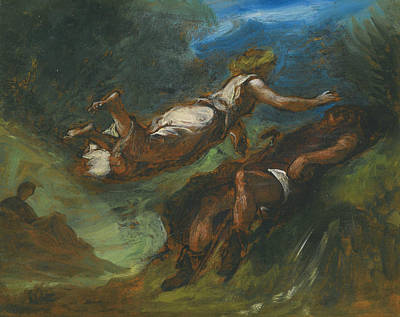 Hesiod And The Muse Print by Eugene Delacroix