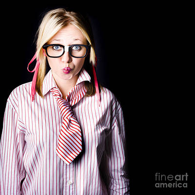 Hesitant Uncertain Smart Business Girl On Black Print by Jorgo Photography - Wall Art Gallery