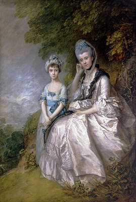 Women Painting - Hester, Countess Of Sussex, And Her Daughter, Lady Barbara Yelve by Thomas Gainsborough