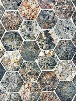 Marble Mosaic Photograph - Hexagonal Tiles Background by Tom Gowanlock