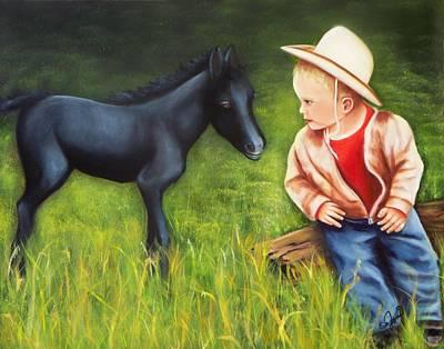Portrait Painting - Hey Little Buddy by Joni McPherson