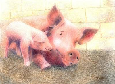 Pig Pastel - Hey Mom...are You Awake by Arline Wagner