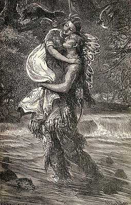 Hiawatha And Minnehaha. Representation Print by Vintage Design Pics