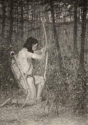 Wilderness Drawing - Hiawatha by Frederic Remington