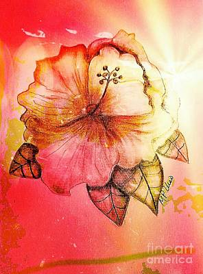 Floral Digital Art Drawing - Hibiscus 16-01 by Maria Urso
