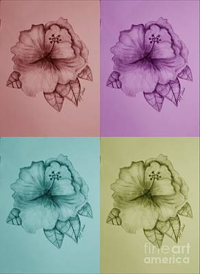 Floral Digital Art Drawing - Hibiscus 16-02 by Maria Urso