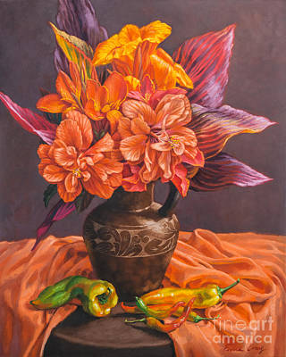 Canna Painting - Hibiscus And Cannas In Balinese Jug by Fiona Craig
