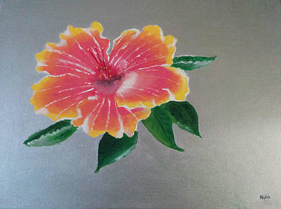 Reds Of Autumn Drawing - Hibiscus Flower by Nura Abuosba