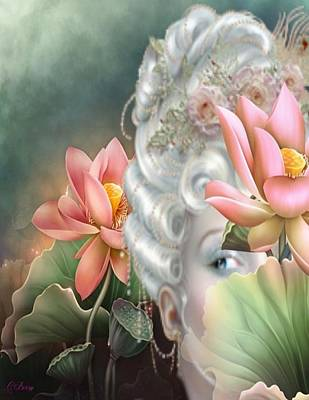 Floral Digital Art Drawing - Hidden Among The Lotus by G Berry