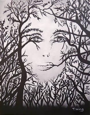 Hidden Face Print by Teresa Wing
