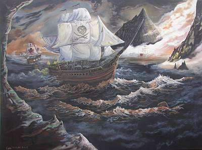 Pirate Ship Painting - Hidden Skull Cove by Kevin F Heuman