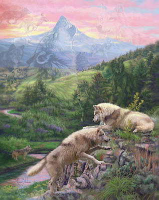 Gray Wolf Painting - Hidden Wolves by Lucie Bilodeau