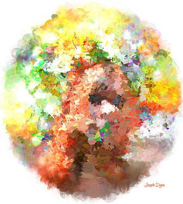 Wig Painting - Hidding Face - Pa by Leonardo Digenio
