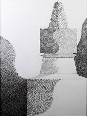 Abstract Shapes Drawing - Higgins Monolith by John Morris